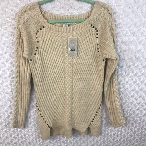 Alberto Makali Cable Knit Beaded Sweater NWT